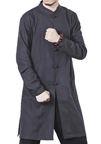 Zaimse Hombres de Gran tamaño, Ropa de Cama de algodón de Kung Fu Rana Boton Camisa de Vestir Dark Grey XL
