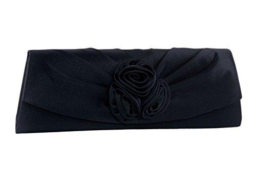 Bolsa mujer JEAN MARTEN azul bolso de mano elegante en satén con rosa N509