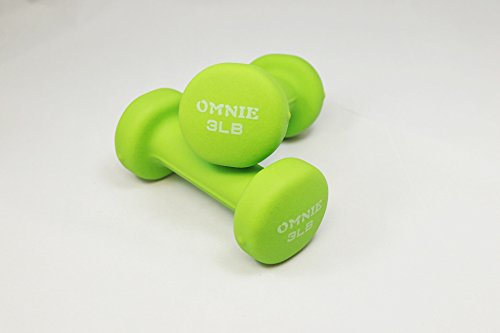 Omnie Deluxe Neoprene Dumbbell Hand Weight For Exercise Fitness Yoga - Pair (3 LBS - Green)