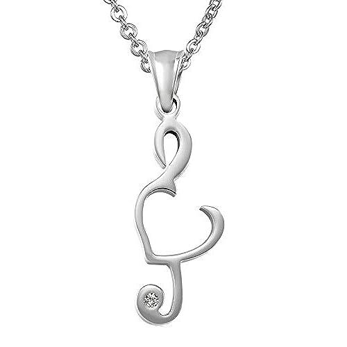 5ef8de21f0ea Daesar Collar Acero Inoxidable Collar Colgante Nota Musical Corazón Collar  Colgante Mujer Hombre Parejas Collar Negro