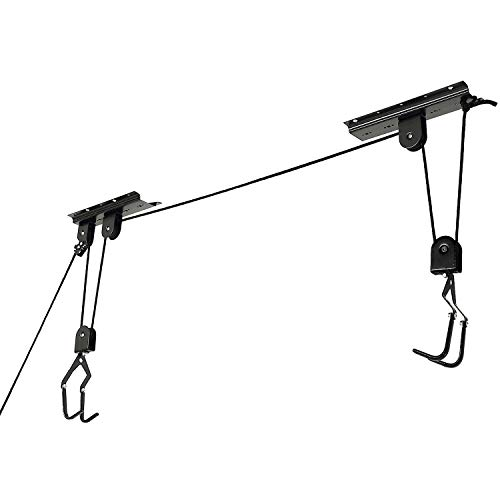 Bike Hoist Bicycle Lift for Garage Ceiling Storage, Heavy Duty Mountain Bicycle Hanging Rack with 3 Pulley and 45 ft Adjustable Rope   100 lb Capacity