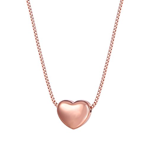 Plated Heart with Box Chain Pendant Necklace, 17-19 Inch (Rose Gold Italian)
