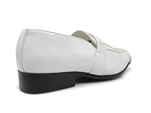 JY1N Dress Church Party Satin Shoes Loafer On Metal Tip Slip Wedding White Stripes Men's Shoes Silver Dress Groomsmen qqwrRFU