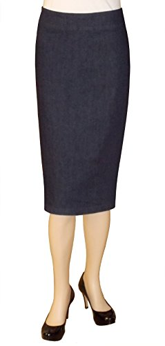Baby'O Women's Below The Knee Stretch Denim Pencil Skirt 18 Blue (Skirt Bleach Denim Stretch)