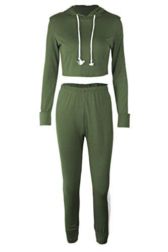 Cerniera Slim Donne Tute Fit Armygreen Raccolto Le Sweatsuits Casual Si dIqIwYT