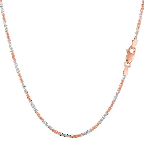 14K Two-Tone Yellow & White Gold or White & Rose Gold or Yellow or White Gold 1.5mm Shiny Diamond-Cut Sparkle Chain Necklace for Pendants and Charms with Lobster-Claw Clasp (10
