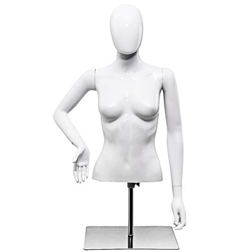 Giantex Female Half Body Mannequin Torso Dress Form Clothing Display Adjust Height & Arms with Base, Bright White