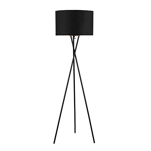 ambiore. Lisboa Tripod Floor Lamp – 62 inch Modern for Living Room Office – Metal Tripod with Black TC Fabric Shade
