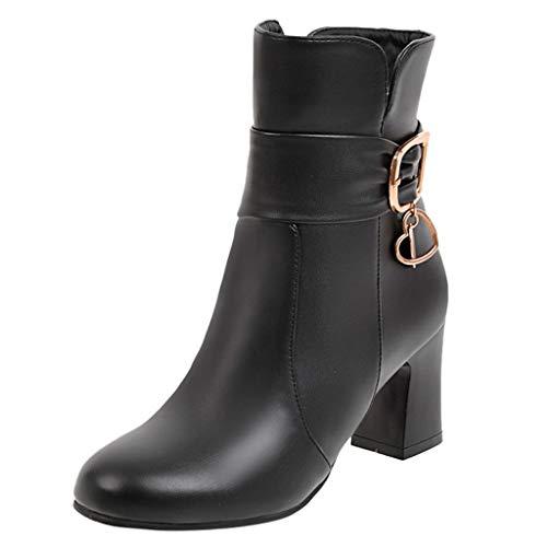 NEARTIME Plus Size Short Boots, Women's Thick High Heel Zipper Ankle Shoes Autumn Retro Cute Zipper Student Booties Black]()