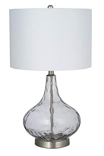 (Catalina Lighting 21900-001 Transitional Textured Round Glass Table Lamp with Linen Shade, LED Bulb Included, 25.5