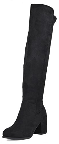 TOETOS Women's Prade-01 Black Suede Over The Knee Chunky Heel Boots Size 10 M US