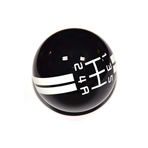 SMKJ 5 Speed Mustang White line Shift Knob Black Car Gear Stick Shift Shifter Knob Automatic Manual Shifter Knob Suitable for Most Transmission Vehicles