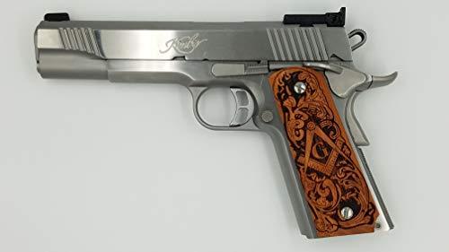 1911 Custom Grip Laser Engraved Masonic Emblem Kimber Colt S&W Remington  Taurus Randal