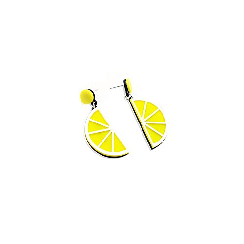 (Personality cute Acrylic big fruit slice dangle drop earring for Women girls jewelry gift - lemon)