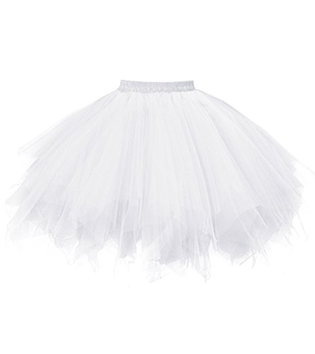 Dresstore Women's Short Vintage Petticoat Skirt Ballet Bubble Tutu Multi-colored White S/M ()