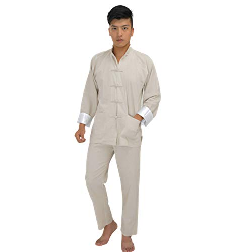 Chinese Kung Fu Uniform Traditional Tai Chi Costume Shirt Pants Mens Long Sleeve Kung Fu Robe Chi Cotton Shirt (L, - White Button Uniform Fu Kung