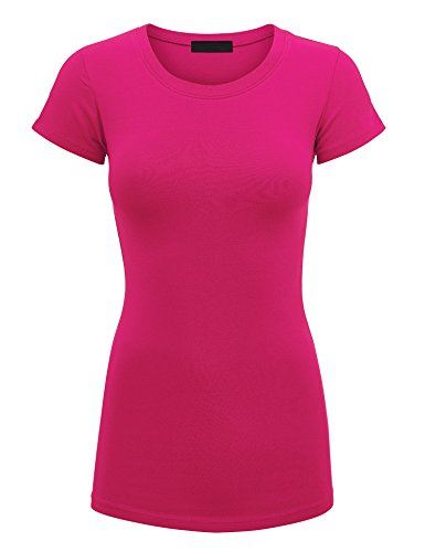 WT1548 Womens Basic Fitted Short Sleeve Round Neck T Shirt S Fuchsia