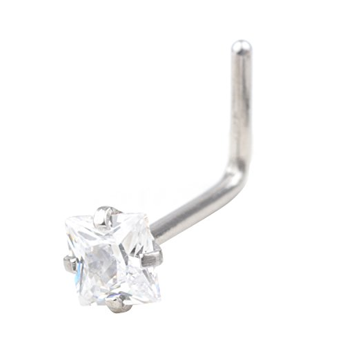 Yans 20G Surgical Steel 3mm Clear Round/Square Diamond Cubic Zirconia Crystal Nose L-Shape Rings Piercing Jewelry