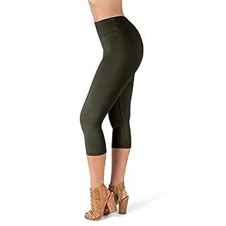 SATINA High Waisted Super Soft Capri Leggings - 20 Colors - Reg & Plus Size (One Size, Olive)