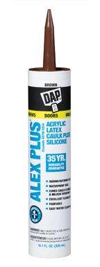 (Dap 18120 12 Pack 10.1 oz. Alex Plus All Purpose Acrylic Latex Caulk Plus Silicone, Brown)