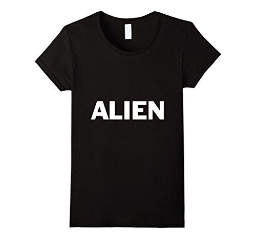 [Women's Alien Lazy Halloween Costume Funny T Shirt Medium Black] (Out Of This World Alien Costume)