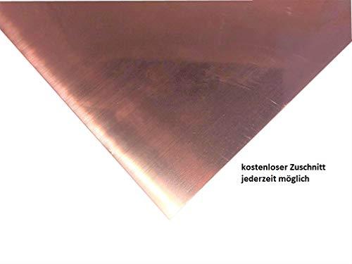0,6mm Kupferblech Kupfer Blech Länge frei wählbar Zuschnitt kostenlos (100x100mm)