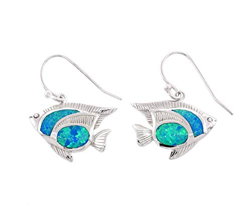 PORI JEWELERS Sterling Silver Created Opal with Crystal Fish Dangle Earrings - for Women (Silver Sterling Fish Earrings)