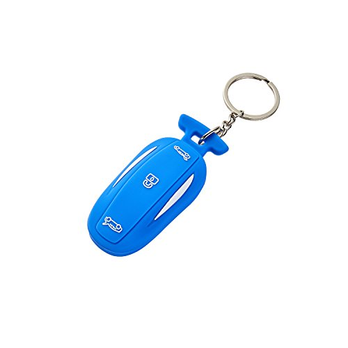 LFOTPP Silicone Car Key Cover [1 Pack] for Tesla Model X Model 3 Remote Key (Blue)
