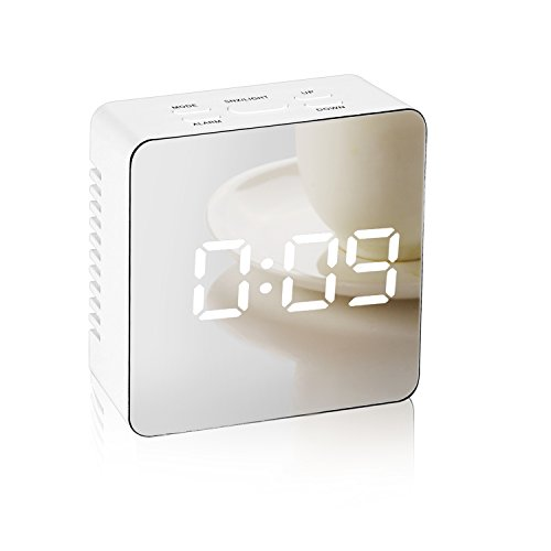 Mirror Alarm Clock,Digital LED Display Portable Modern Alarm Clock with Snooze Time Temperature USB Powered for Bedroom,Office,Living Room,Travel