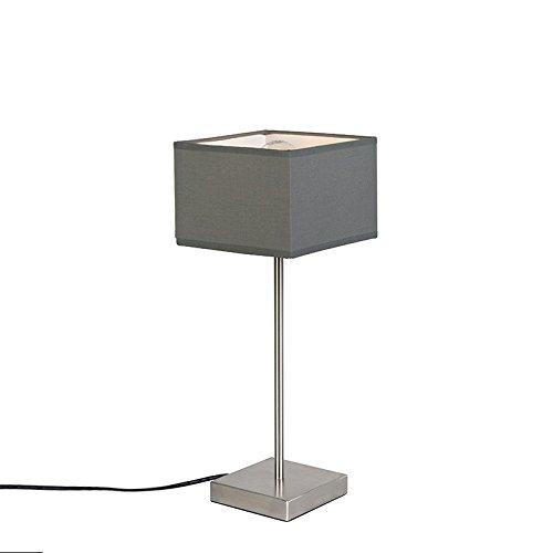 1 x 60 Watt QAZQA Modern Tischleuchte//Tischlampe//Lampe//Leuchte VT 1 grau//Innenbeleuchtung//Wohnzimmerlampe//Schlafzimmer Textil//Stahl Quadratisch LED geeignet E27 Max