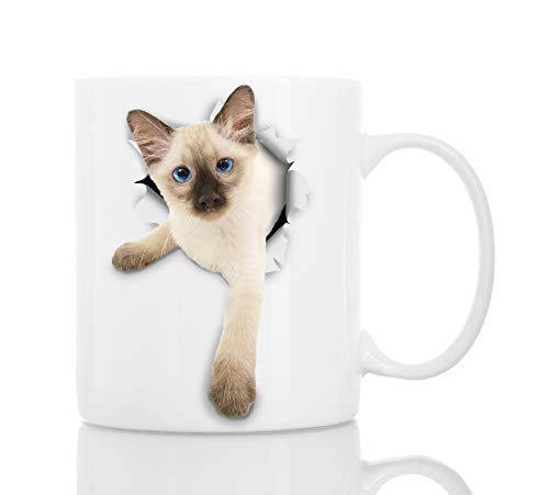 Siamese Kitty Cat Coffee Mug - Ceramic Funny Coffee Mug - Perfect Cat Lover Gift - Cute Novelty Coffee Mug Present - Great Birthday or Christmas Surprise for Friend or Coworker, Men and Women (11oz)