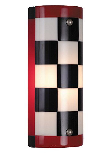 Meyda Tiffany Hardware (Meyda Tiffany Custom Lighting 82537 Mama Mia Fused Glass 1-Light ADA Wall Sconce, Nickel Finished Hardware and Black, White, and Red Art Glass Shade)