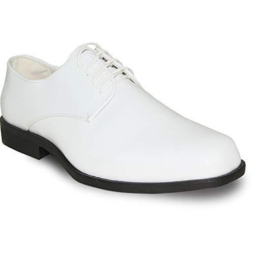 (VANGELO Men Formal Tuxedo Dress Shoe for Wedding, Uniform and Prom Tux-1 White Patent)