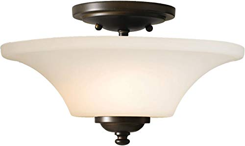 "Feiss SF240ORB Barrington Glass Semi Flush Ceiling Lighting, Bronze, 2-Light (13""Dia x 8""H) 120watts"