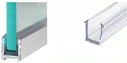 Cabinas de ducha de aluminio, perfil de sujeción en U para 10 mm de grosor de cristal en diferentes longitudes, aspecto cromado o acero inoxidable cepillado, perfil estrecho de pared, mampara de
