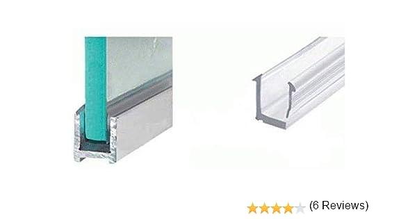 Cabinas de ducha de aluminio, perfil de sujeción en U para 8 mm de grosor, en diferentes longitudes, aspecto cromado o acero inoxidable cepillado, perfil estrecho de pared, mampara de ducha, fijación