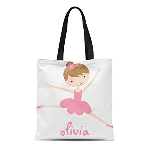 (Semtomn Cotton Line Canvas Tote Bag Kids Personalized Ballet Ballerinas Reusable Handbag Shoulder Grocery Shopping Bags )