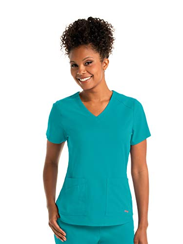 Grey's Anatomy GRST011 Women's Emma Scrub Top Peacock Blue M (Blue Peacock)