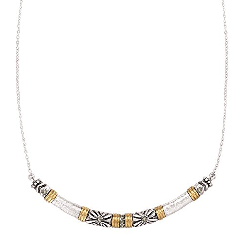 Silpada Canyon Dreams Curved Bar Necklace with Swarovski Crystals in Sterling Silver & Brass