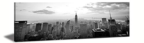JiazuGo-Canvas Wall Art - New York City Midtown Skyline-Black and White Panoramic Cities-New York Canvas Wall Art- Modern Wall Decor/Home Decoration,Framed Ready to Hang 14