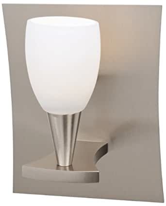 Holtkoetter 5580 SN SW Ludwig Single Light Wall Sconce, Satin Nickel with Satin White Glass