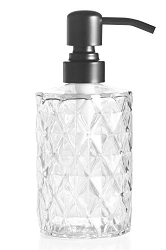 Easy-Tang 12 Oz Clear Glass Soap Dispenser - Refillable Wash Hand Liquid, Dish Detergent, Shampoo Lotion Bottle with Oil Black Pump Holder, Ideal for Bathroom Countertop, Kitchen, Laundry Room]()