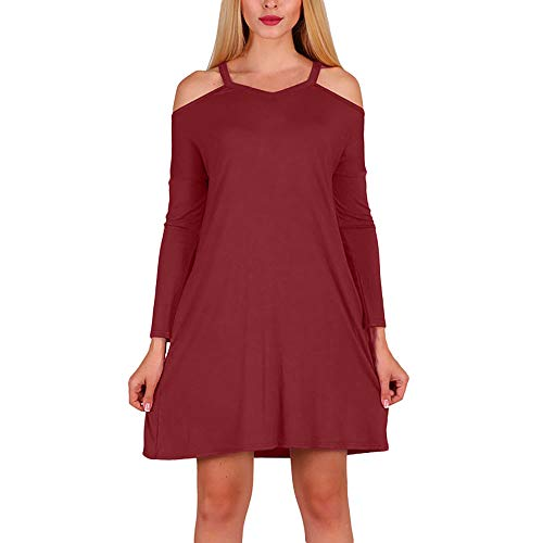 Womens Dress DEATU Clearance Ladies Casual Long Sleeve Off Shoulder Dress Autumn Party Mini Dresses (Wine red,L) -