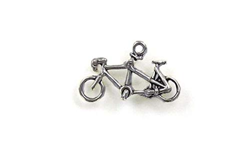 Sterling Silver 3-D Tandem Bicycle Charm for Jewelry Making Bracelet Necklace DIY Crafts