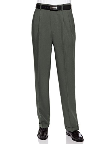 RGM Men's Work to Weekend Pleated Front Dress Pant Olive-Microfiber 32 Medium