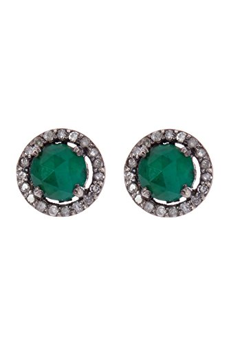 Emerald Halo Stud Earrings for Women| Sterling Silver 5mm Echo Stud Earrings With Champagne Diamond by ADORNIA (Image #3)