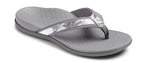 Vionic Women's Tide II Toe Post Sandal - Ladies Flip Flop with Concealed Orthotic Arch Support Grey Floral 11 B(M) US ()
