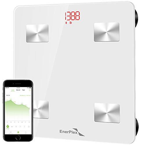 EnerPlex Digital Weight Scale Comes in 5 Colors, Bluetooth Body Fat Scale, Bathroom Scale, iOS, Android App, Unlimited Users, Body Composition Analyzes Fat BMI BMR Muscle Mass, 396 lbs White (Lose The Clutter Lose The Weight Reviews)