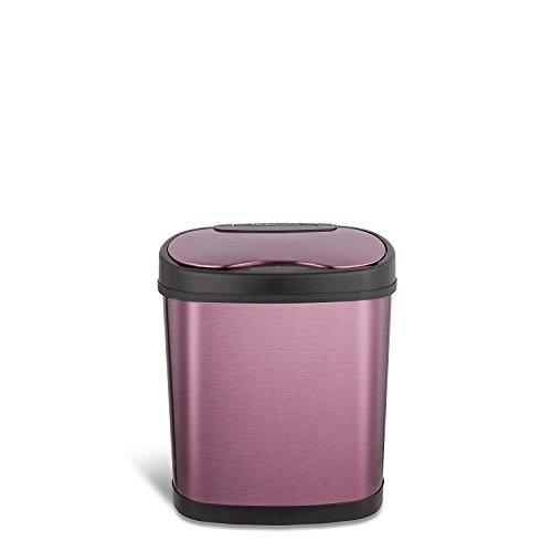 NINESTARS DZT-12-13P Automatic Touchless Motion Sensor Oval Trash Can, 3.2 Gal. 12 L., Purple
