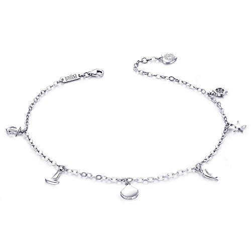 Billie Bijoux Women 925 Sterling Silver White Gold Plated Adjustable Large Bracelet Anklet Gift for Valentine